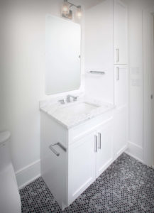 New Canaan new construction vanity cabinet and countertop detail.