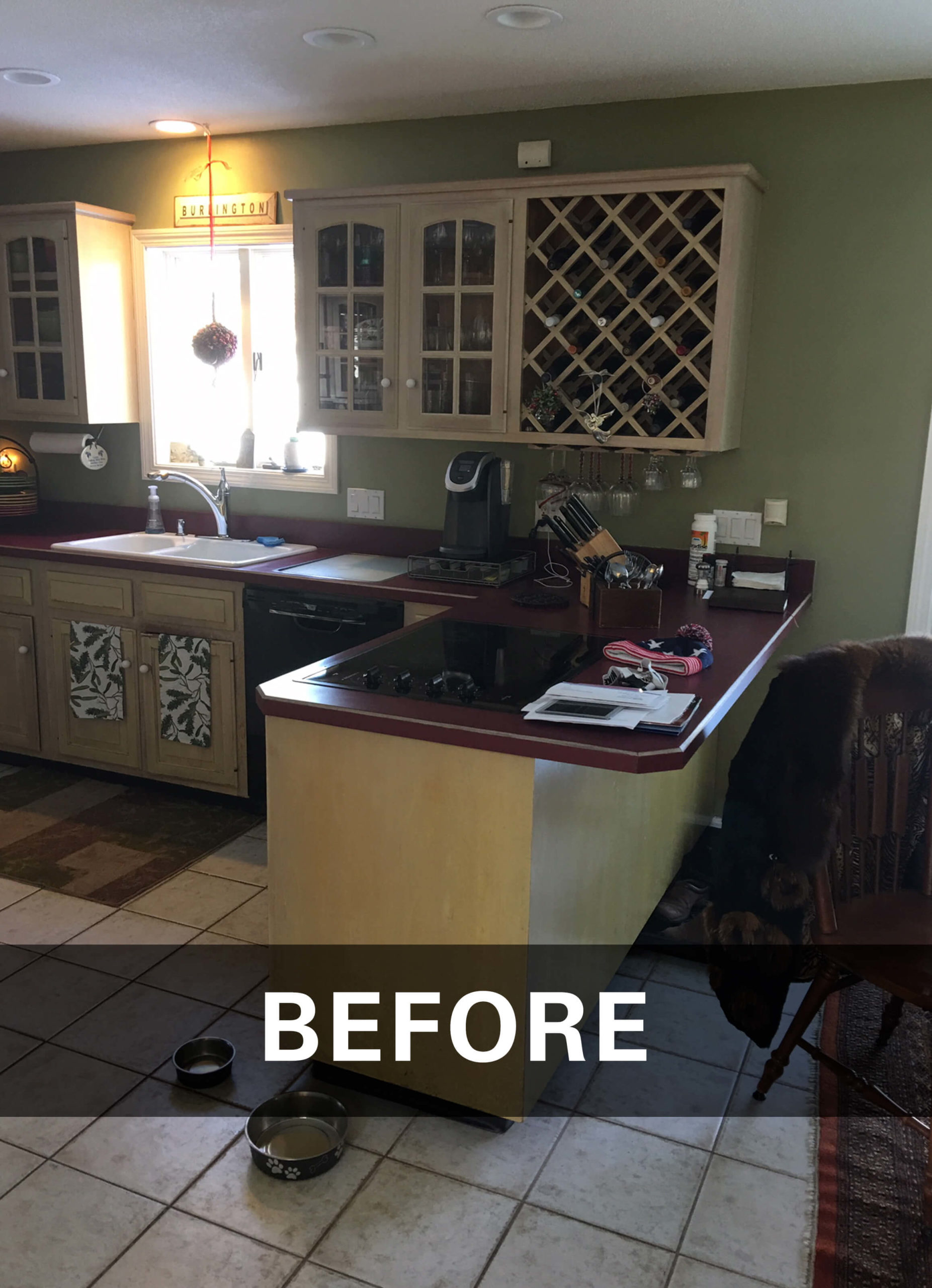 Burlington kitchen remodel before showing work surfaces and peninsula and original countertops.