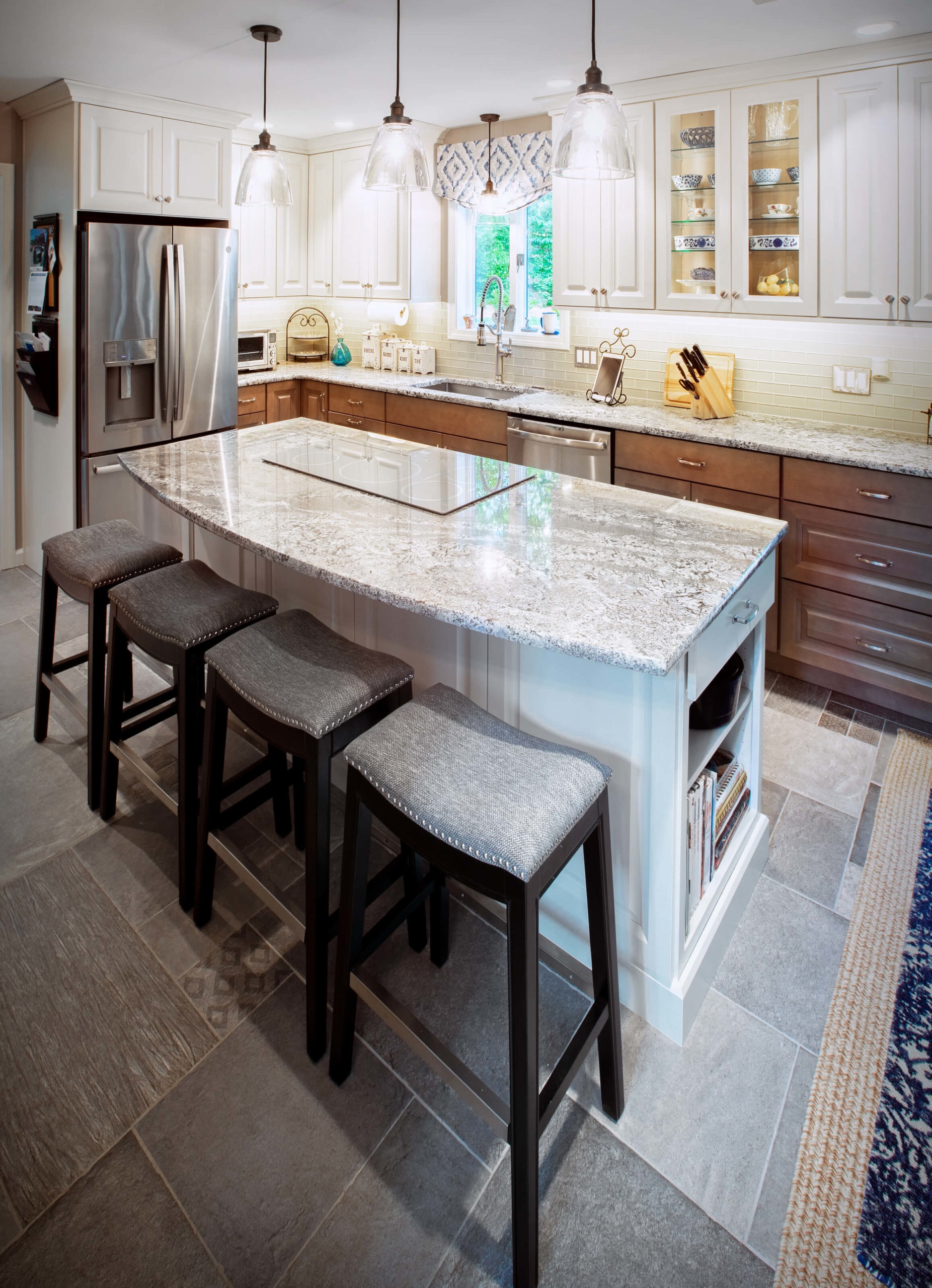 Burlington kitchen remodel perimeter cabinets, island, backsplash and countertops.