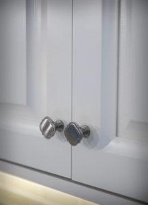 Burlington kitchen remodel perimeter cabinets hardware detail.