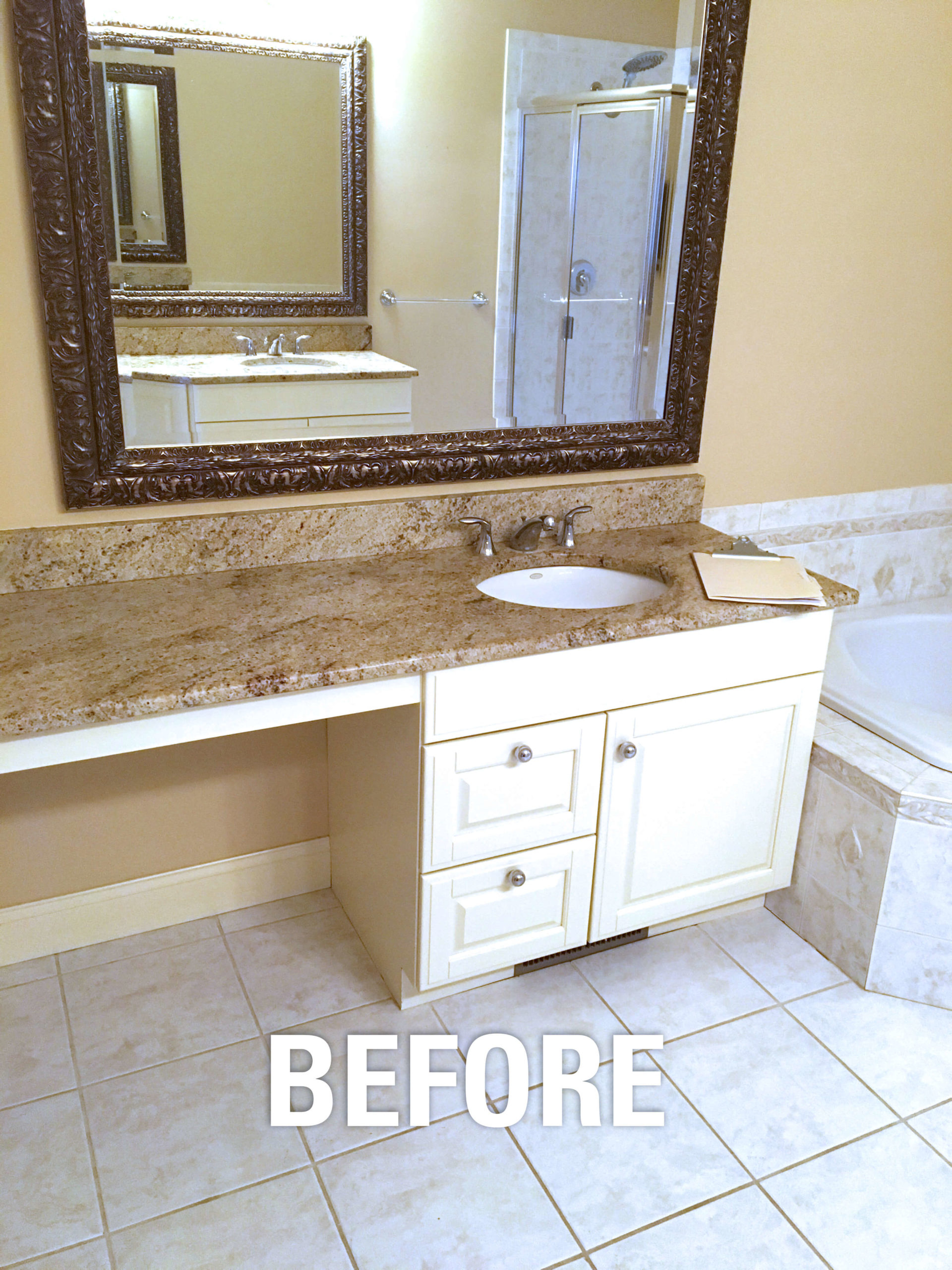 Before we installed the bathroom vanity.