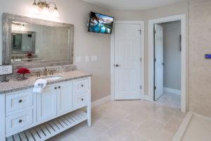Detail view of bathroom vanity installed by Viking Kitchens at Gledhill Estates.