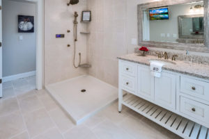 Detail view of bathroom vanity in optional white installed by Viking Kitchens at Gledhill Estates.