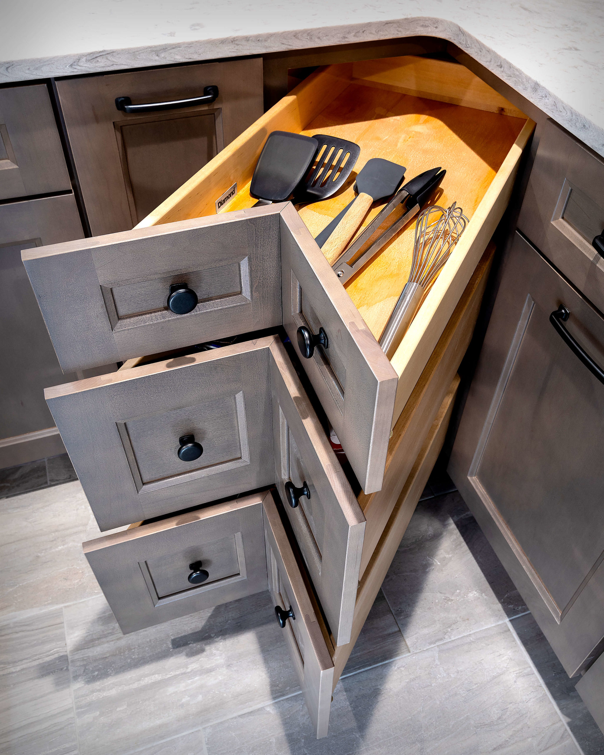 Soft close corner drawers by Diamond Cabinets.