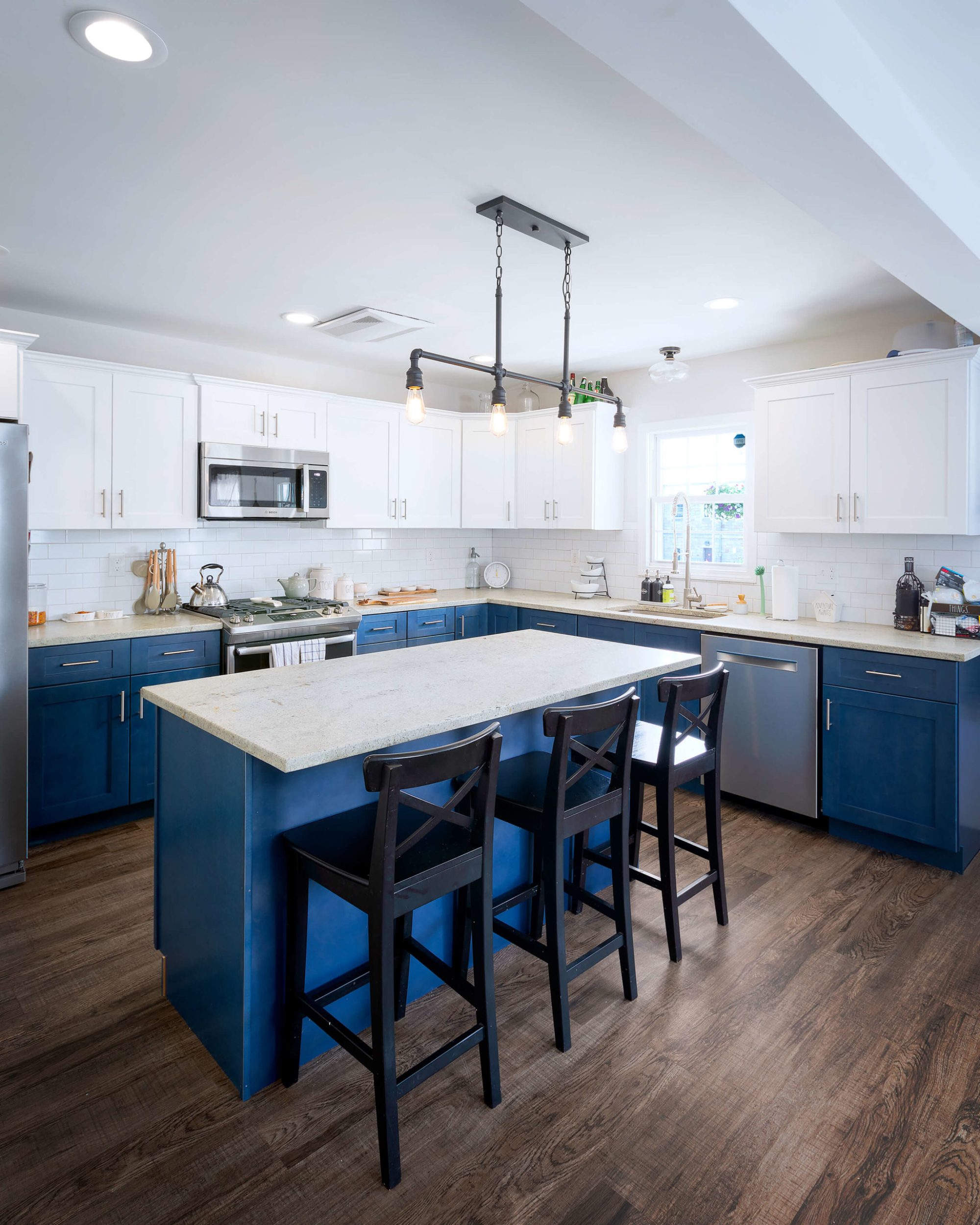 View of the island in the kitchen of this Hamden remodel