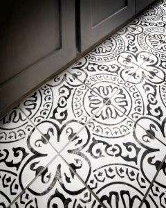 Detail of bathroom floor tiling