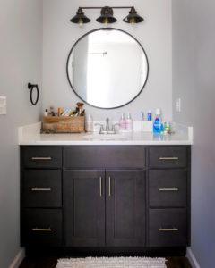 Vanity top and cabinet in upper floor half bath