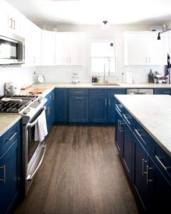 View of the work surfaces in the kitchen of this Hamden remodel