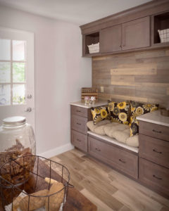 South Windsor kitchen remodel boot bench with upper and lower cabinet storage