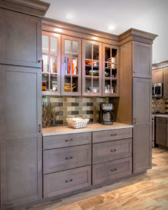 South Windsor kitchen remodel glass cabinets with mullion windows and matching interiors