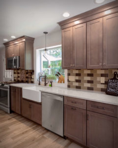 South Windsor kitchen remodel perimeter cabinets, farmhouse sink, and countertop