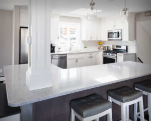 Trumball kitchen remodel showing front of creative kitchen island design
