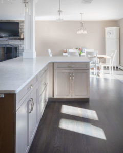 Trumball kitchen remodel showing rear of creative kitchen island design