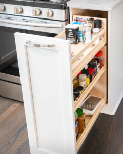 Trumball Kitchen Remodel Perimeter Cabinet Pull Out Spice Rack