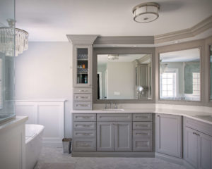 Higganum bathroom remodel showing custom cut mirrors.
