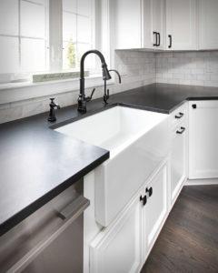 Farmhouse modern kitchen remodel countertop and sink detail.