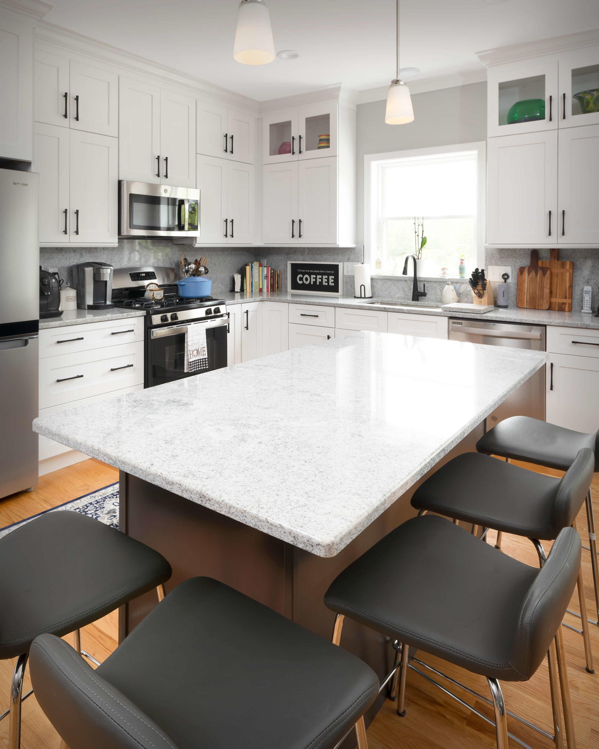Detail view of island countertop in new kitchen and bathroom project in Middletown.