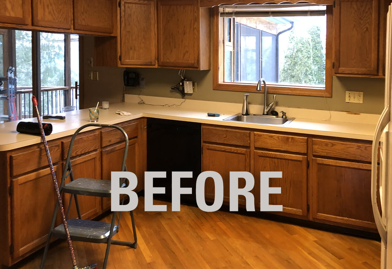 View of the sink area BEFORE work on this kitchen remodel in Wallingford, CT.