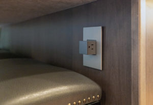 View of the under counter pop-out power sockets.