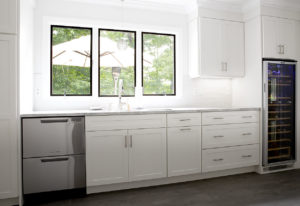 View of the Butler's Pantry AFTER work in the West Hartford Kitchen remodel showing custom full heights cabinets.