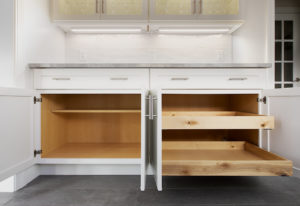 Detail of the cabinetry in the Butler's Pantry showing custom rollouts.