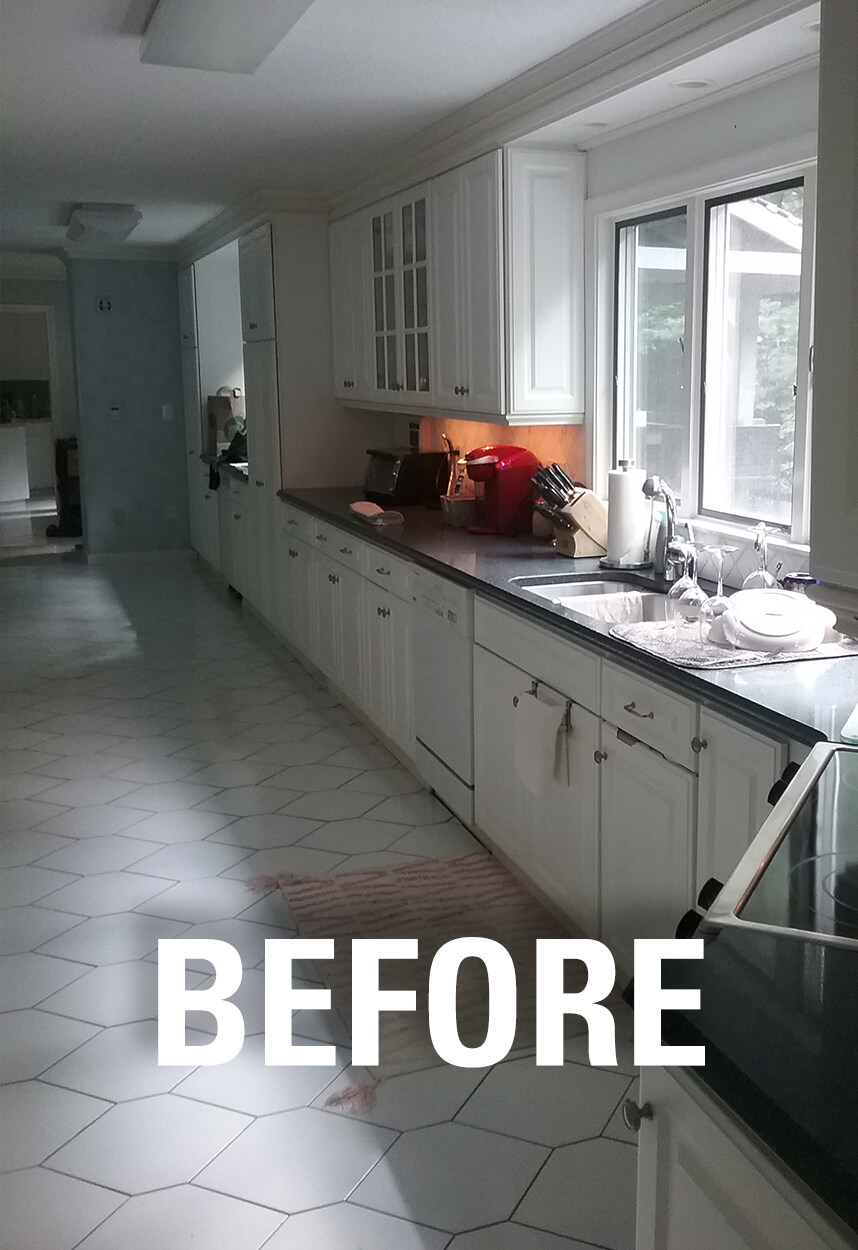 Rear Wall and Island area BEFORE work began on this West Hartford kitchen remodel.